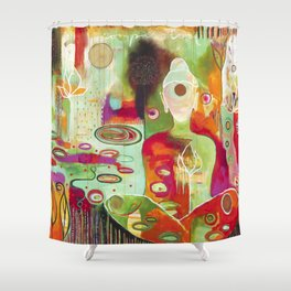 """Rooted In Love"" Original Painting by Flora Bowley Shower Curtain"