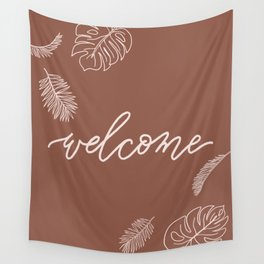 Welcome Calligraphy with Tropical Palms Wall Tapestry