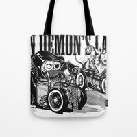 pocket fuel Tote Bags featuring Gimme Fuel! by Trav Z'Anger
