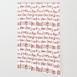 Love Script Rose Gold Typography Pattern Wallpaper