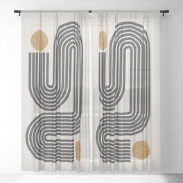 Mid Century Modern Line Sheer Curtain
