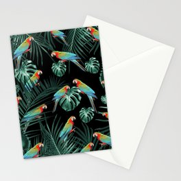 Parrots in the Tropical Jungle Night #2 #tropical #decor #art #society6 Stationery Cards