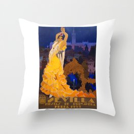Spain 1933 Seville April Fair Travel Poster Throw Pillow