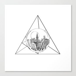 Graphic . geometric shape gray New York in a bottle Canvas Print
