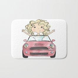 Girl Driving A Car Bath Mat