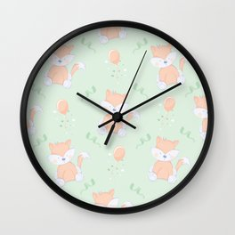 Happy Birthday Orange Fox on Green Background Pattern Wall Clock