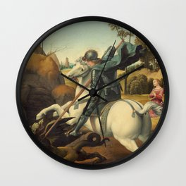Saint George and the Dragon Oil Painting By Raphael Wall Clock
