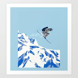 Airborn Skier Flying Down the Ski Slopes Kunstdrucke