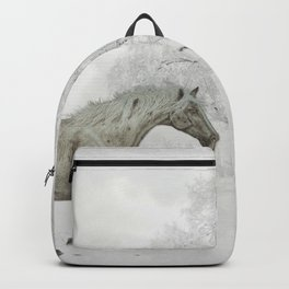 White Horse Galloping on Snowy Field Backpack