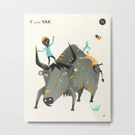 Y is for Yak Metal Print