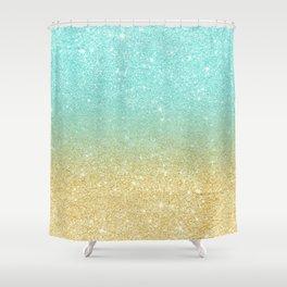 Modern robbin egg blue glitter ombre gold glitter Shower Curtain