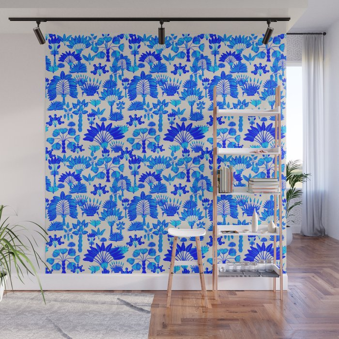 Exotic Garden - Blue Wall Mural
