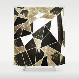 Modern Rustic Black White and Faux Gold Geometric Shower Curtain