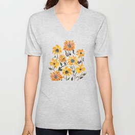 Sunflower Watercolor – Yellow & Black Palette Unisex V-Neck