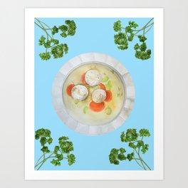 Passover Matzo Ball Soup (blue) Art Print