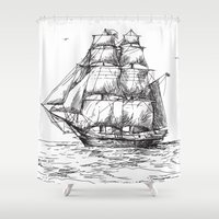 marine Shower Curtains featuring marine by ismailburc