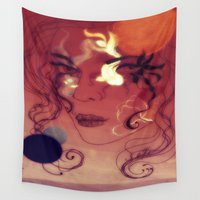 siren Wall Tapestries featuring sunset siren by Erika