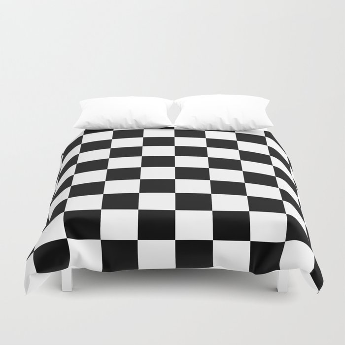 Black & White Checker Checkerboard Checkers Duvet Cover