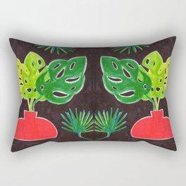 Monstera Leaves in Vase Rectangular Pillow