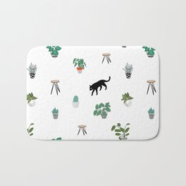 cats and pots pattern Bath Mat