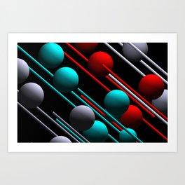 balls and 3 colors Art Print