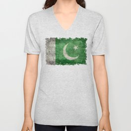 Flag of Pakistan in vintage style Unisex V-Neck