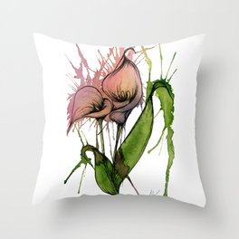 Abstract Peach Calla Lillies - Watercolor Painting Throw Pillow