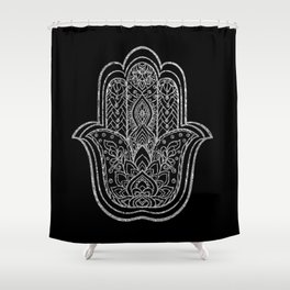 Silver Lotus Hamsa Hand Shower Curtain