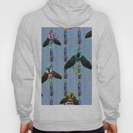 Iridescent Bees with Space Rockets Pattern Hoody