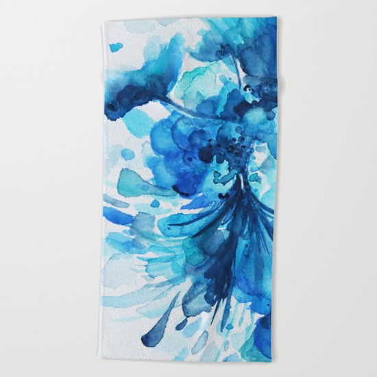 Blue Watercolor Floral Beach Towel