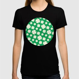 Off-White Four Leaf Clover Pattern with Green Background T-shirt