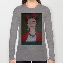 Frida portrait with dalias Long Sleeve T-shirt