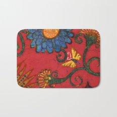 batik butterflies and flowers on red 2 Bath Mat