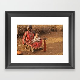 Masai Woman and Child Framed Art Print