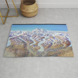 Heinrich Berann - Panoramic Painting of Denali National Park with labels (1994) Rug
