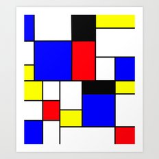 Red Blue Yellow Geometric Squares Art Print