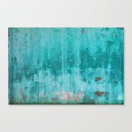 Weathered turquoise concrete wall texture Canvas Print