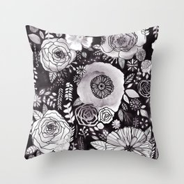 Black&White Floral Mix Throw Pillow