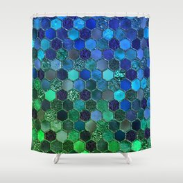 Blue & green geometric hexagonal elegant & luxury pattern Shower Curtain