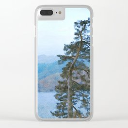 Pine Trees at Thirlmere, Lake District, Cumbria, UK Watercolour Clear iPhone Case
