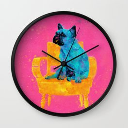 Waiting for human, dog friend Wall Clock