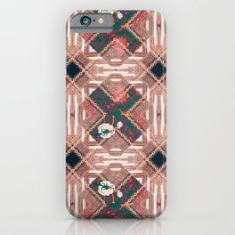 Golden chain, ethnic bordure with patchwork flowers pattern iPhone Case
