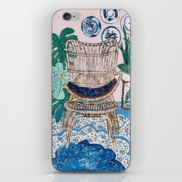 Wicker Chair and Delft Plates in Jungle Room iPhone Skin