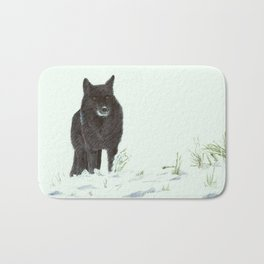 Wolf's snow Bath Mat