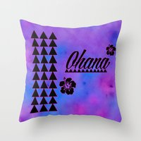 ohana Throw Pillows featuring Ohana by Lonica Photography & Poly Designs