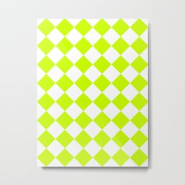 Large Diamonds - White and Fluorescent Yellow Metal Print