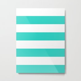 Wide Horizontal Stripes - White and Turquoise Metal Print