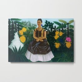Frida's Garden, Frida Kahlo's Casa Azul, Coyoacán, Mexico rainforest floral landscape painting Metal Print