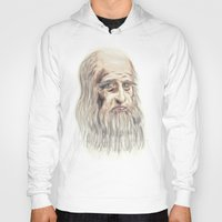 da vinci Hoodies featuring Leonardo da Vinci Colorful by André Minored