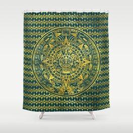Gold  Aztec Inca Mayan Calendar Shower Curtain